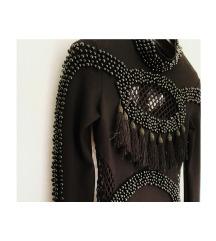 BALMAIN crna uska mini bogata haljina