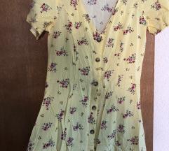 ljetna žuta haljina s dugmićima NENOŠENA