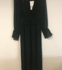 Zara tamno zelena plisirana midi haljina