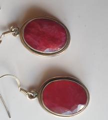 nausnice rubin i srebro 925 3.5 cm