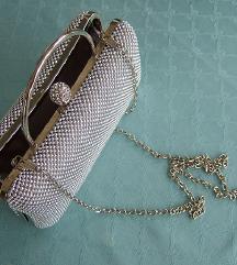 SVEČANA srebrna Clutch torbica