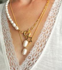 Ogrlica sa rječnim biserima+lančić gratis ✨💛
