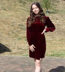 Velvet bordo haljina