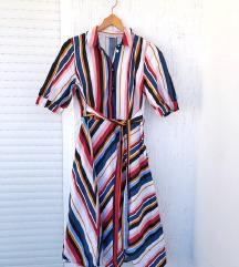 ORSAY šarena prugasta midi haljina kratkih rukava