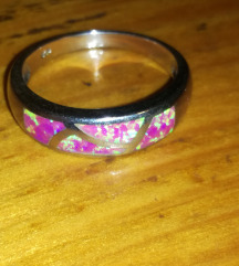 Posrebreni prsten rozi fire opal vel. 10