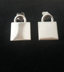 Kvadratne pomične srebrne 925 naušnice