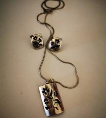 Srebro komplet-lančić s privjeskom i naušnice
