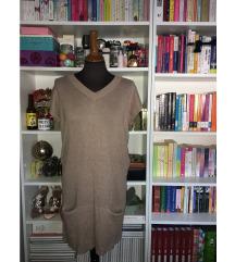 Vunena ženska haljina kratki rukav