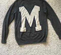 Oversized lagani sivi džemper vel M