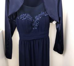 Tamnoplava haljina sa bolerom