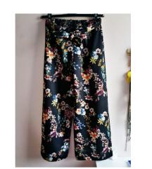 Cvjetni uzorak hlače pallazzo šarene crne cvjetne