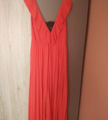 NOVA ZARA maxi crvena plisirana haljina