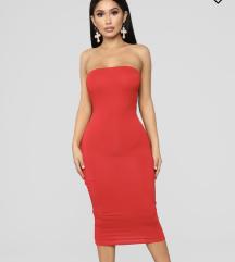 Fashionnova crvena midi haljina