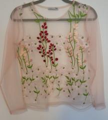ZARA prozirna 3D cvjetna majica