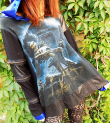 70€ Metallic plavo-crna Hoodie Tunika