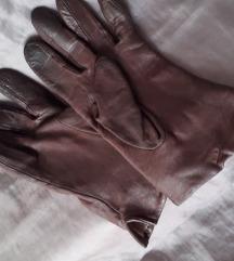 Konjak-smeđe rukavice prava koža M