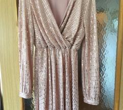 Šljokičasta roza haljinica dugih rukava M/L