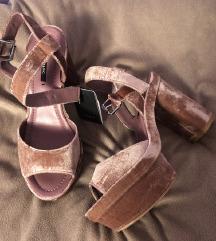 Zara velvet baršun roze sandale 36