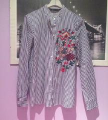 Zara prugasta cvjetna izvezena košulja XS 34