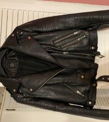 Crna kožna jakna s grafitom