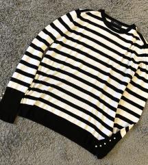(M-XL) Zara prugasti pulover s biserima (pt uklj)