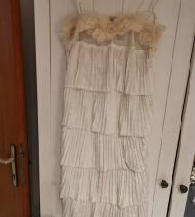 Koktel haljina prekrasan pliš i krzno