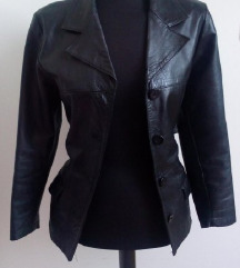 Uska crna kožna jakna 36