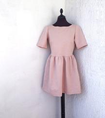 ZARA svijetlo roza haljina otvorenih leđa