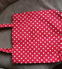 Crvena točkasta platnena torba