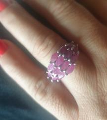 prsten srebro 925 i rubini 18mm