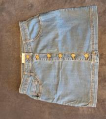 Plava jeans suknja sa dugmima