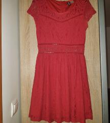 H&M crvena ljetna čipkasta haljina - gratis pt