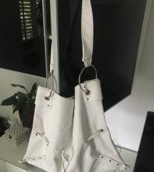 Bijela handmade, unikatna torba