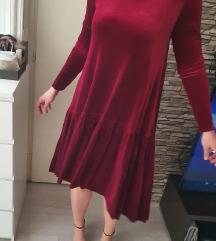 Baršunasta bordo haljina