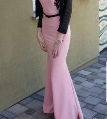 Roza dugacka haljina