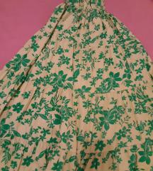 Ljetna zelena haljina na bretele i volane M/L