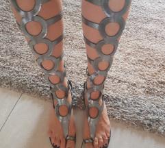 Kožne gladiatorice srebrne