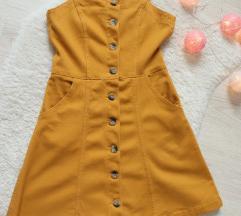 Žuta traper haljinica