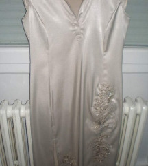 Zlatna/krem svilenkasta haljina