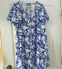 Mango bijela haljina s plavim lišćem