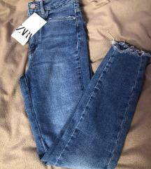 Zara uske skinny plave traperice xs 34