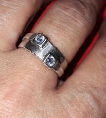 Prsten srebrni s akvamarinom