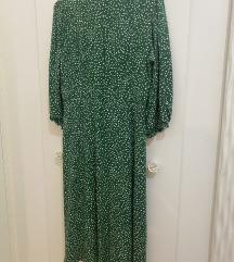Zelena midi haljina na točkice