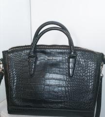 Mango Croc-Effect Bag, Black