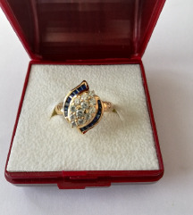 Vintage zlatni prsten sa safirima i cirkonima