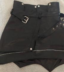 Nova asimetrična kožna suknja s remenom