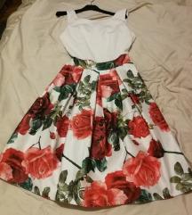 Bijela haljina plisirana puf cvjetna