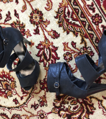 Otvorene crne,kožne čizme