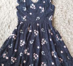 Nova čipkasta tamnoplava cvijetna haljina