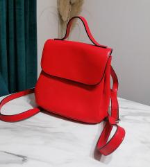 Crveni kozni ruksak